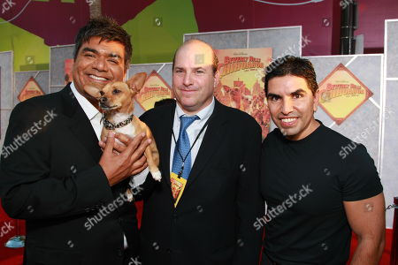 """SEPTEMBER 18: George Lopez, Papi, Producer John Jacobs and Eddie 'Piolin' Sotelo at the World Premiere of Walt Disney Pictures' """"Beverly Hills Chihuahua"""" on at the El Capitan Theatre in Los Angeles, CA"""