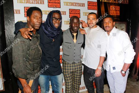 """Isaiah Washington, Nate Parker, Jeymes Samuel, Michael K. Williams, Jesse WIlliams, and Nate Parker, left to right, arrive on the red carpet at the Bulleit Bourbon presents """"They Die by Dawn"""" premiere at SXSW, on in Austin, Texas"""