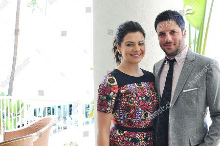 "Actress Casey Wilson, left, and her husband David Caspe pose in Beverly Hills, Calif. Their comedy series ""Marry Me,"" premieres Tuesday, Oct. 14, at 9 p.m. ET on NBC"