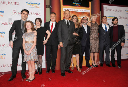 "Actors Colin Farrell, Annie Rose Buckley, Melanie Paxson, Bradley Whitford, Tom Hanks, Rita Wilson, Paul Giamatti, Emma Thompson, B.J. Novak and Jason Schwartzman attend the U.S. Premiere of ""Saving Mr. Banks"", on Monday, December, 9, 2013 in Burbank, Calif"