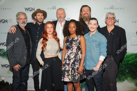 "Outsiders"" cast and crew from left: Producer Peter Mattei, actors Thomas M. Wright, Gillian Alexy,David Morse, Ryan Hurst, Christina Jackson and Kyle Gallner and producer Peter Tolan are seen at WGN America Winter TCA 2016 at The Langham Huntington Hotel on in Pasadena, CA"