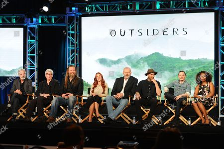 "Outsiders"" cast and crew from left: Peter Mattei, Peter Tolan, Ryan Hurst, Gillian Alexy,David Morse,Thomas M. Wright, Kyle Gallner and Christina Jackson are seen at WGN America Winter TCA 2016 at The Langham Huntington Hotel on in Pasadena, CA"