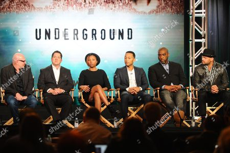 "Underground"" producers Akiva Goldsman, Joe Pokaski, Misha Green, John Legend, Mike Jackson and Anthony Hemingway seen at WGN America Winter TCA 2016 at The Langham Huntington Hotel on in Pasadena, CA"
