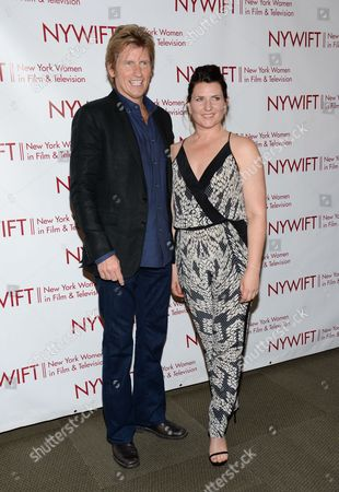 Stock Photo of Actor Denis Leary, left, and honoree, hairstylist Kerrie Smith, attend the New York Women in Film & Television Honors gala at the McGraw-Hill Building on in New York