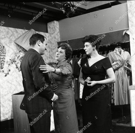 Stock Image of Donald Morley (as Walter Fletcher), Valerie Skardon (as Mrs Dumbarton) and Pat Phoenix (as Elsie Tanner)