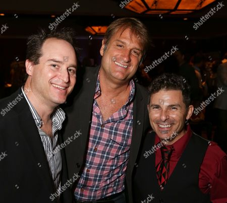"""From left, Brian Kite, Producing Artistic Director La Mirada Theatre for the Performing Arts, Director/Choreographer Jeff Calhoun and Nick DeGruccio pose during the party for the opening night performance of """"Jekyll & Hyde"""" The Musical at the La Mirada Theatre for the Performing Arts, in La Mirada, Calif"""