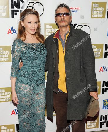"""Singer Kylie Minogue and director Leos Carax attend the premiere of """"Holy Motors"""" during the 2012 New York Film Festival at Alice Tully Hall on in New York"""