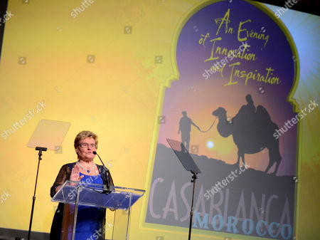 Claudia Mann speaks on stage at the 10th annual Alfred Mann Foundation Gala, in Beverly Hills, Calif