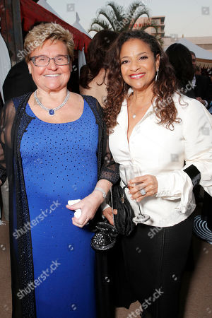 Claudia Mann, left, and Debbie Allen attend the 10th annual Alfred Mann Foundation Gala, in Beverly Hills, Calif