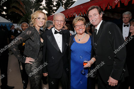 Stock Photo of From left, Janet Jones, Alfred Mann, Claudia Mann and Wayne Gretzky attend the 10th annual Alfred Mann Foundation Gala, in Beverly Hills, Calif