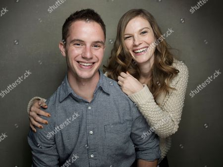 """From left, Actor Will Brittain and actress Lindsay Burdge from the film """"A Teacher"""" pose for a portrait during the 2013 Sundance Film Festival at the Fender Music Lodge on in Park City, Utah"""