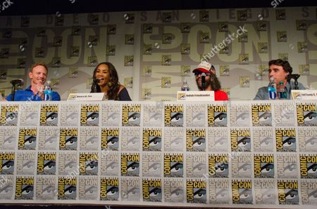 """From left, Ian Ziering, Vivica A. Fox, Judah Friedlander and Anthony C. Ferrante attend the """"Sharknado"""" panel on Day 1 of Comic-Con International, in San Diego"""