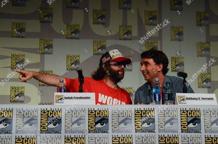 "From left, Judah Friedlander and Anthony C. Ferrante attend the ""Sharknado"" panel on Day 1 of Comic-Con International, in San Diego"