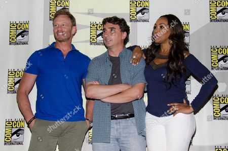 "From left, Ian Ziering, Anthony C. Ferrante and Vivica A. Fox attend the ""Sharknado"" panel on Day 1 of Comic-Con International, in San Diego"