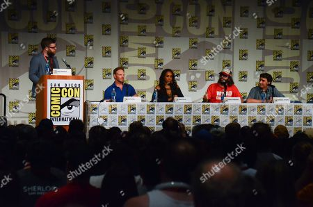 "From left, Sam Thielman, Ian Ziering, Vivica A. Fox, Judah Friedlander and Anthony C. Ferrante attend the ""Sharknado"" panel on Day 1 of Comic-Con International, in San Diego"