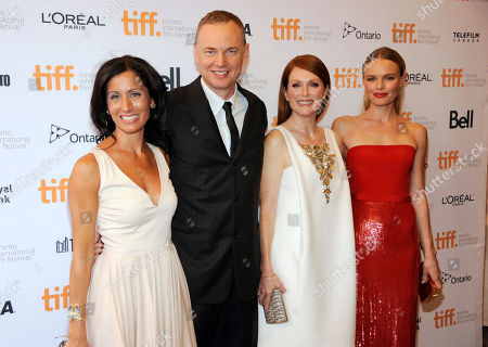 """Lisa Genova, and from left, Wash Westmoreland, Julianne Moore and Kate Bosworth attend the premiere for """"Still Alice"""" on day 5 of the Toronto International Film Festival at the Winter Garden Theatre, in Toronto"""