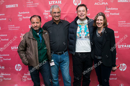"Stock Photo of Fisher Stevens, director Louis Psihoyos, Elon Musk, CEO & Chief Product Architect of Tesla Moters, and producer Olivia Ahnemann John Behrens attend the premiere of ""Racing Extinction"" during the 2015 Sundance Film Festival, in Park City, Utah"