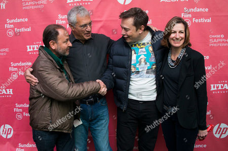 "Stock Picture of Fisher Stevens, director Louis Psihoyos, Elon Musk, CEO & Chief Product Architect of Tesla Moters, and producer Olivia Ahnemann John Behrens attend the premiere of ""Racing Extinction"" during the 2015 Sundance Film Festival, in Park City, Utah"