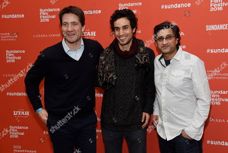 "Asif Kapadia, right, director of ""Ali & Nino,"" poses with producer Kris Thykier, left, and cast member Adam Bakri at the premiere of the film at the 2016 Sundance Film Festival, in Park City, Utah"