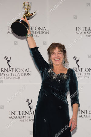 Award Winner for Best Performance By An Actress, Anneke von der Lippe poses at the 43rd International Emmy Awards at the New York Hilton Hotel, in New York