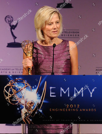 OCTOBER 24: President and General Manager, Entertainment & Commercial Films Kim Snyder accepts the Philo T. Farnsworth Corporate Achievement Award for the The Eastman Kodak Company at the Academy of Television Arts & Sciences 64th Primetime Emmy Engineering Awards at the Loews Hollywood Hotel on in Hollywood, California