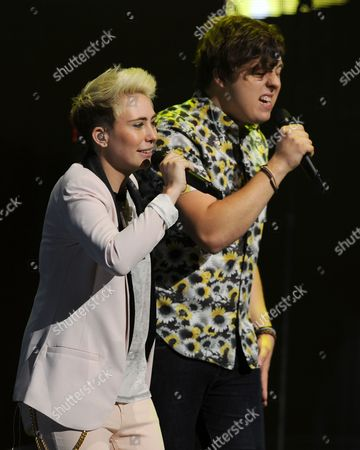 EXCLUSIVE IMAGE MK Nobilette and Alex Preston perform during American Idols Live! 2014 at the Broward Center for the Performing Arts on in Ft Lauderdale, Florida. (Photo by
