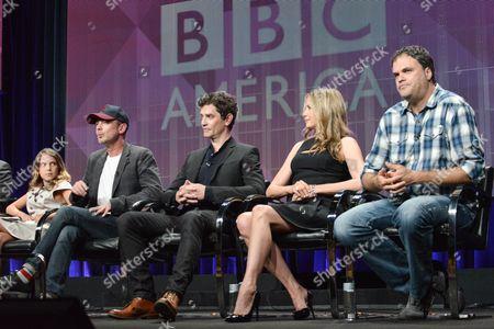 "Millie Brown, from left, John Simm, James Frain, Mira Sorvino and director Eduardo Sanchez speak during ""Intruders"" portion of the BBC America 2014 Summer TCA, in Beverly Hills, Calif"
