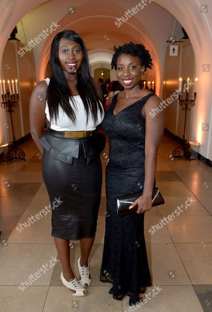 Stock Picture of British playwright Bola Agbaje and film director Destiny Ekaragha attend the 57th BFI London Film Festival Awards Night at Banqueting House Whitehall,, in London