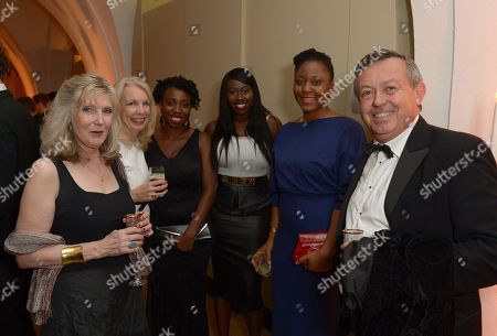 Amanda Nevill (second from left) with film director Destiny Ekaraghathe and Bola Agbaje at the 57th BFI London Film Festival Awards Night at Banqueting House Whitehall,, in London