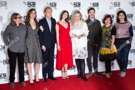 From left, producer Stephen Woolley, actors Rachael Stirling, Bill Nighy, Gemma Arterton, director Lone Scherfig, actor Sam Claflin, director of the BFI London Film Festival Clare Stewart and producer Amanda Posey, pose for photographers during a photo call to promote the film 'Their Finest' at the London Film Festival, in London