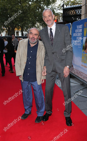 Stock Image of Guy Jenkin, right and Andy Hamilton arrive for the World Premiere of 'What We Did On Our Holiday', at the Odeon West End in central London