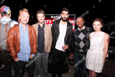 "From left, David Anders, Robert Buckley, Rahul Kohl, Malcolm Goodwin and Rose McIvers seen at ""Party Til You're Undead"" Presented by BuzzFeed and Sponsored by iZombie / The CW at Whisler's, on in Austin, Texas"