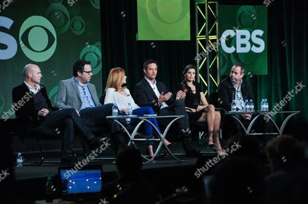 """From left, Tripp Vinson, Michael Seitzman, Marg Helgenberger, Josh Holloway, Meghan Ory, and Barry Schindel participate in the """"Intelligence"""" panel at the CBS Winter 2014 TCA Press Tour, Wed, in Pasadena, Calif"""