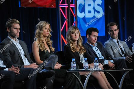 """Stock Picture of From Left, Rick Donald, Brooklyn Decker, Majandra Delfino, Kevin Connolly, and James Van Der Beek participate in the """"Friends With Better Lives"""" panel discussion at the CBS Winter 2014 TCA Press Tour, Wed, in Pasadena, Calif"""