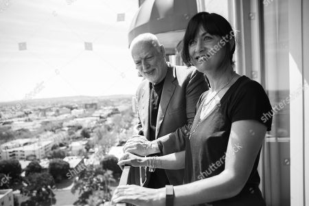 David Gilmour, left, and Polly Samson pose for a portrait in Los Angeles. Gilmour is on a rare tour right now, his first in a decade, stopping in New York before a European leg that continues through summer