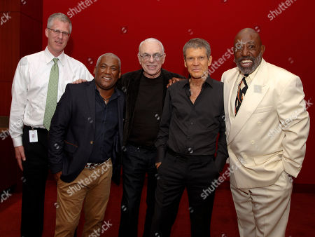 Jazz superstars David Sanborn and Jonathan Butler performed at the Cobb Energy Center as part of the Atlanta Jazz Roots Concert Series on in Atlanta. (l-r) Tom Rowland, Director of Marketing for the Cobb Energy Performing Arts Centre; Jonathan Butler; Larry Rosen, producer of the Jazz Roots Concert Series; David Sanborn; and Carl Griffin, co-producer of the Jazz Roots Concert Series