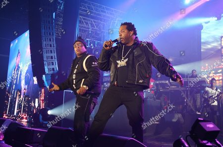 """Rappers Spliff Star and Busta Ryhmes performs at the """"EA Sports Madden Bowl XX"""", on in New York"""