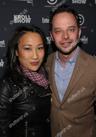 """Actress Tina Huang, left, and actor/comedian Nick Kroll attend an exclusive screening of Comedy Central's """"Kroll Show"""" hosted by Entertainment Weekly on at LA's Silent Movie Theatre in Los Angeles"""