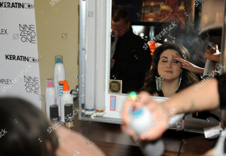 Actress KayCee Stroh visits the Keratin Complex pop-up salon at the Fender Music lodge during the Sundance Film Festival, in Park City, Utah