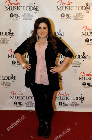 Actress KayCee Stroh poses at the Fender Music lodge during the Sundance Film Festival, in Park City, Utah