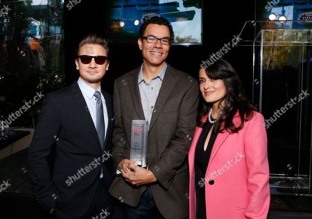 Jeremy Renner, Peter Nicks and Salma Hayek attend the Film Independent Spirit Awards Luncheon at BOA Steakhouse, in West Hollywood, Calif