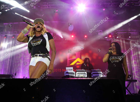 Cheryl James, Sandra Denton and Deidra Roper with Salt-N-Pepa performs during the Ford VIP After Party at the Georgia World Congress Center, in Atlanta