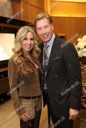 From left, Diana McBride and Michael Moser, Director, Harry Winston South Coast Plaza Salon pose during the party to debut the Harry Winston Hope Collection Bracelet that 100% of the retail sales price from each limited edition bracelet will be donated to CHOC Children's hospital held at the Harry Winston South Coast Plaza Salon on in Irvine, Calif