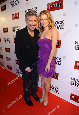Deran Sarafian and Laurie Fortier arrive at the Hemlock Grove North America Premiere, in Toronto