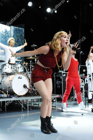 Amy Renee Heidemann and Nicholas Louis of Karmin performing at Chastain Park Amphitheatre, in Atlanta
