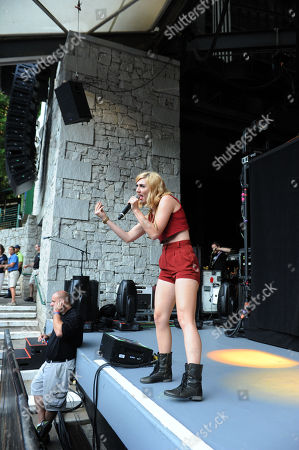 Amy Renee Heidemann of Karmin performing at Chastain Park Amphitheatre, in Atlanta