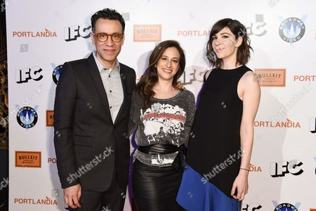 Fred Armisen, left, Jennifer Caserta, and Carrie Brownstein, right arrive at Portlandia Season 5 Premiere Presented by Bulleit Bourbon at The Theatre at Ace Hotel, in Los Angeles, CA