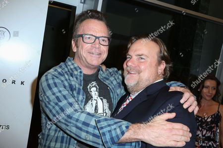 "Tom Arnold, left, and Kevin Farley arrive at the LA Premiere of ""I Am Chris Farley"" at the Linwood Dunn Theater, in Los Angeles"