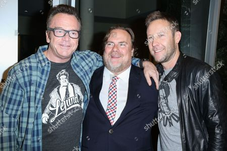 "Stock Photo of Tom Arnold, from left, Kevin Farley and Michael Rosenbaum arrive at the LA Premiere of ""I Am Chris Farley"" at the Linwood Dunn Theater, in Los Angeles"