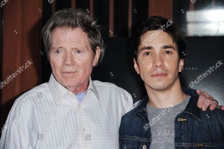 """Michael Parks, left, and Justin Long arrive at the LA Premiere Of """"Tusk"""", in Los Angeles"""
